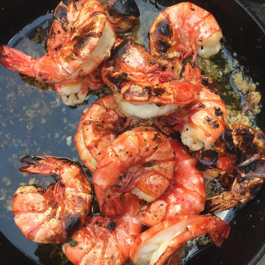 Giant roast prawns