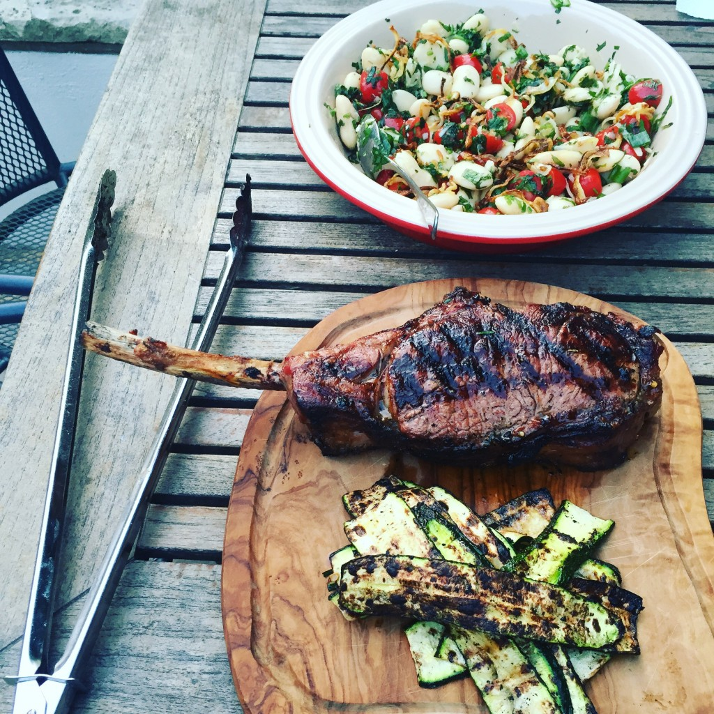 Tomahawk steak, courgette and butter beans